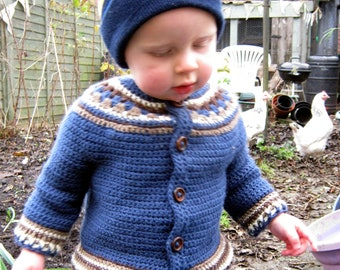Crochet Pattern for Baby Cardigan Toddler Jacket Sweater yoke PDF Instant Download