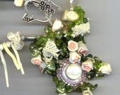 Wedding Jewelry . Statement Bridal Necklace . Ceramic Roses . White Coral, Peridot, Pearls - Here Comes the Bride by enchantedbeads on Etsy