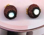 RESERVED for Suzanne Jackson-Beadwoven clip on Earrings . Moonstone .Burgundy . Statement Clips- My Mom's Ear Clips by enchantedbeas on Etsy