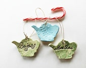 Teapot Ornaments, French Words, Bonjour and Mon Ami, Soft Green and Blue