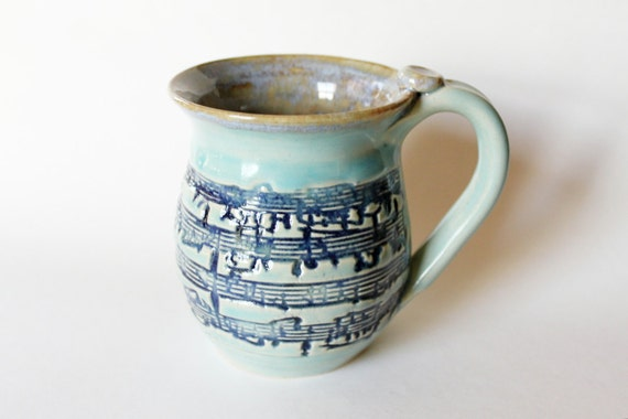 Sheet Music Mug // Slab Built Textured Mug Holds 12 oz