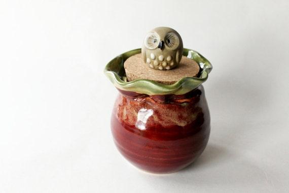 Lidded Jar with Owl, Ceramic Clay Handmade Caddy with Vintage Owl
