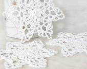 Holiday Winter Crochet Snowflakes, Set of Three Christmas Tree Snowflake Ornaments