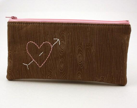 Zipper Pouch - Pencil Pouch - Pink Heart on Bark - Woodgrain
