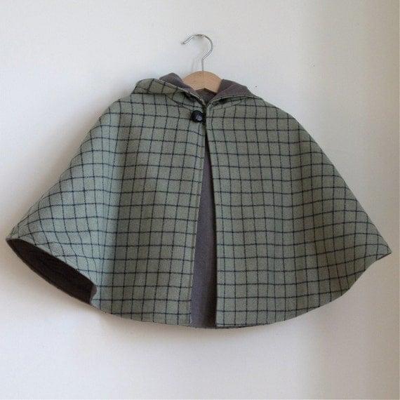 Sherlock Holmes Wool Detective Cape - Newborn, Baby, or Toddler Girls or Boys cape - sizes Newborn to 4T - cape, cloak, coat, jacket