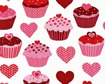 Robert Kaufman, Pink Light Design, Confections Cupcakes Hearts White Fabric - Half Yard