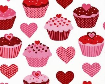 Robert Kaufman, Pink Light Design, Confections Cupcakes Hearts White Fabric - Half Yard