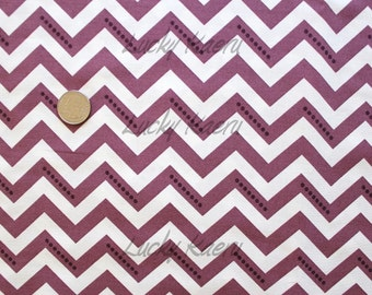 SALE Vanessa Christenson,  Simply Color, Stripe Dotted Zig Zag Eggplant Fabric - Half Yard