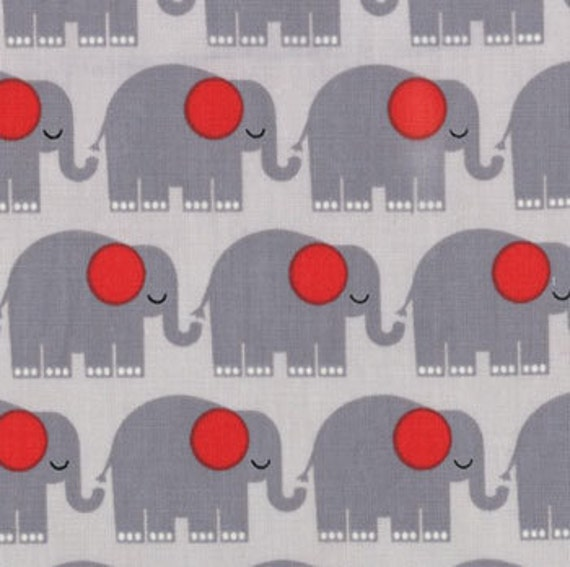 NEW Tim Beck, Bungle Jungle, Elephants Grey Fabric - By the Yard