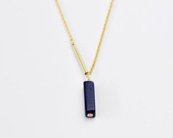 Asymmetrical bar necklace - midnight blue pendant necklace - minimalist necklace - natural stone necklace - delicate necklace - Empyrean