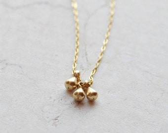 Tiny teardrops necklace - three 3 drops necklace - delicate gold necklace - tiny charms - dainty necklace - gold filled chain - Honeydrops