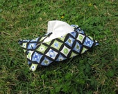Tissue Holder in Black Green and Blue Graphics for Purse or Pocket
