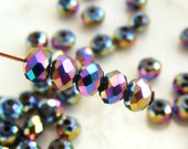 Crystal Beads 4x3mm Faceted Rondelles Metallic Rainbow Abacus (Qty 25) MW-4x3R-MR