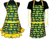 Green Bay Packers Aprons Matching His and Hers Set, Adjustable Full Kitchen Aprons