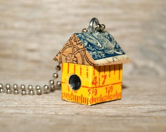 Funky Little BirdHouse House Necklace Charm Pendant Keychain- Measuring Up Metric - Art By Heather - Ready To Ship
