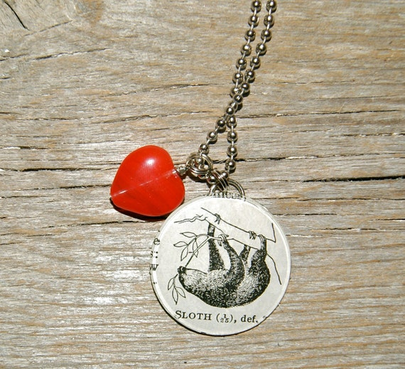 Sloth Love - Altered Vintage Glass Watch Crystal Pendant Necklace - Recycled Upcycled - Ready To Ship