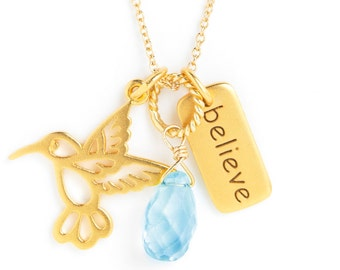 Charm Necklace - Believe, Hummingbird, Gemstone Dangle, Goldplated, 14k GF Chain
