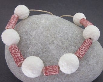 Handmade Textured Porcelain Bead Assortment