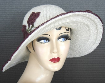 Cream Cotton Crochet Brimmed Hat On Sale
