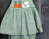 Vintage Green Checkered Sundress Dress w/ Bloomers- 3T, Bunny Rabbit Carrot Applique, Ric Rac, Easter, Spring