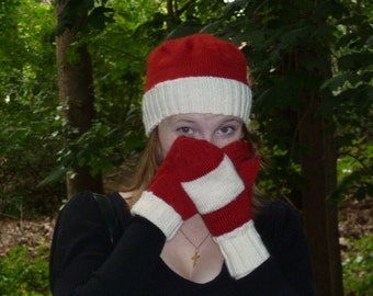 Red and White ladies hat and mitte all wool free shipping in US