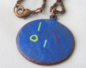 Blue Enameled Copper Pendant on Copper Chain Enameled Necklace Blue Necklace Gift Idea for Girlfriend