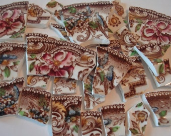 Mosaic Tiles -  Brown Transfer - Blue Birds-  Mauve  Flowers - Old Gold Accents - Vintage - Broken China -Tessera