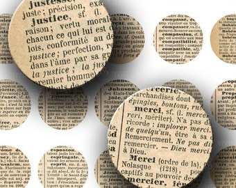 INSTANT DOWNLOAD Vintage French Dictionary Words Digital Images Collage Sheet One 1 Inch Circles for Pendants Magnets Tags (C147)