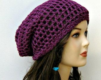 Hemp Wool Soy beanie, orchid purple slouchy beanie, small dreadlocks snood tam, hippie tam hat, slouchy hat, slouchy beanie hat, woman hat