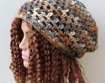 Neutral colored slouchy beanie small dread tam hippie chunky boho hat, thick slouchy hat