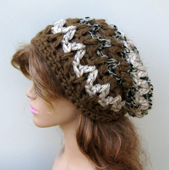 Thick slouchy beanie Hippie Hat bohemian cocao oat