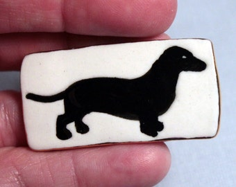 Black Doxen Daschund Dog Brooch Handmade Porcelain Ceramic Jewelry