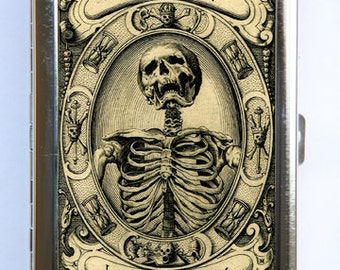 Memento Mori Skeleton Cigarette Case Wallet Business Card Holder psychobilly gothic punk odd death