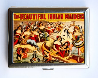 Vintage Circus Indians Poster Cigarette Case Wallet Business Card Holder sideshow performers freaks