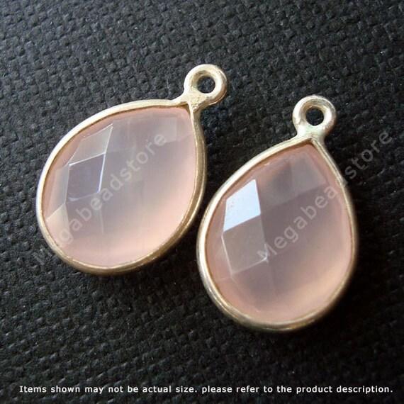 2 pcs 16mm Tear Drop Bezel Pink Chalcedony Charm Drop Sterling Silver F382S