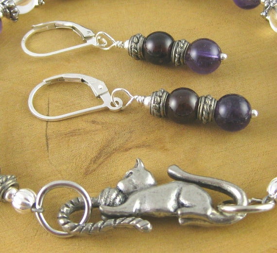 "Purple Kitty Amethyst Garnet and Crystal Quartz 8 1/4"" bracelet set with earrings"