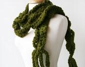 Autumn Fashion Scarf - Merino Wool Fiber Art Crochet Scarf - Olive Green