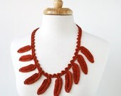Fall Fashion - Silk Crochet Necklace / Lariat - Terra Cotta Rust Orange - Fiber Art Jewelry - ElenaRosenberg