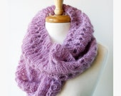 Fall Winter Fashion - Knit Cowl Scarf - Mohair and Silk Infinity Scarf Snood