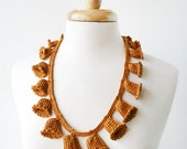 Fiber Art Jewelry - Silk Crochet Lace Necklace - Mustard Yellow