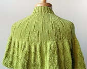 SAMPLE SALE - Women's Fashion - Knit Capelet / Wrap in Merino Wool - Chartreuse Green - ElenaRosenberg