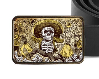 Day of the Dead Belt Buckle, Skeleton Belt Buckle, Halloween