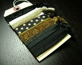Black and Gold Glitter and Polka Dot Hair Ties 6ct