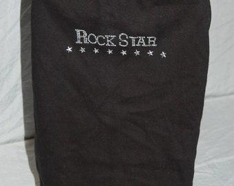 Rockstar medium dog tee shirt, black, Rhinestones
