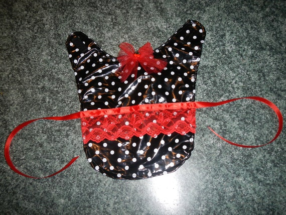 Black with white polka dots PVC medium dog or cat cape, red trims, cherry