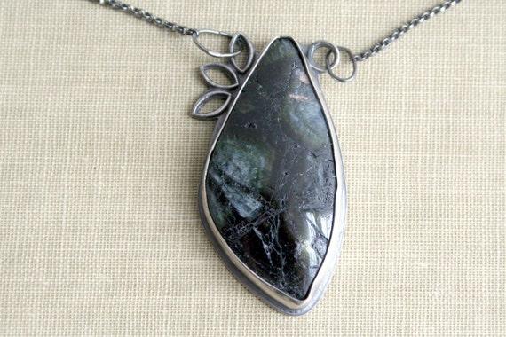 Green Tourmaline Oxidized Sterling Silver Necklace- Seek