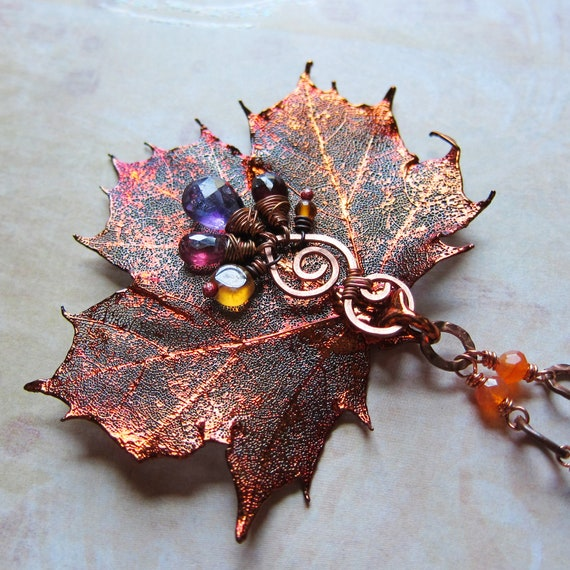 Sylvan Leaves - Real Copper Maple with Amethyst, Garnet, and Amber