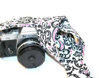 Camera Strap - White Black Damask with Pink Dots - SLR, DSLR