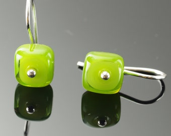 Tiny Square Earrings in Green