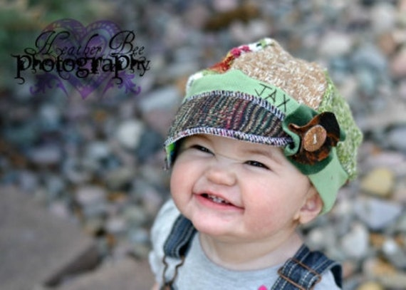 Green and beige with pink accents Recycled sweater childs size Jax hat